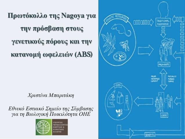 Χριστίνα Μπαριτάκη Εθνικό Εστιακό Σημείο της Σύμβασης για τη Βιολογική Ποικιλότητα ΟΗΕ Πρωηόκολλο ηης Nagoya για ηην πρόζβ...