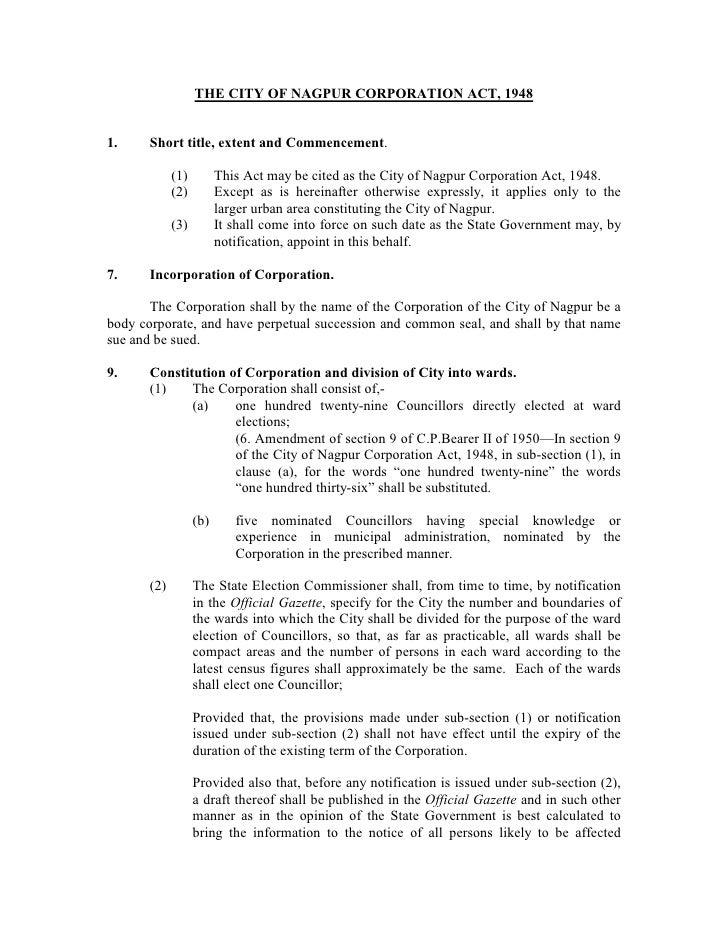 Nagpur Corporation Act,1948