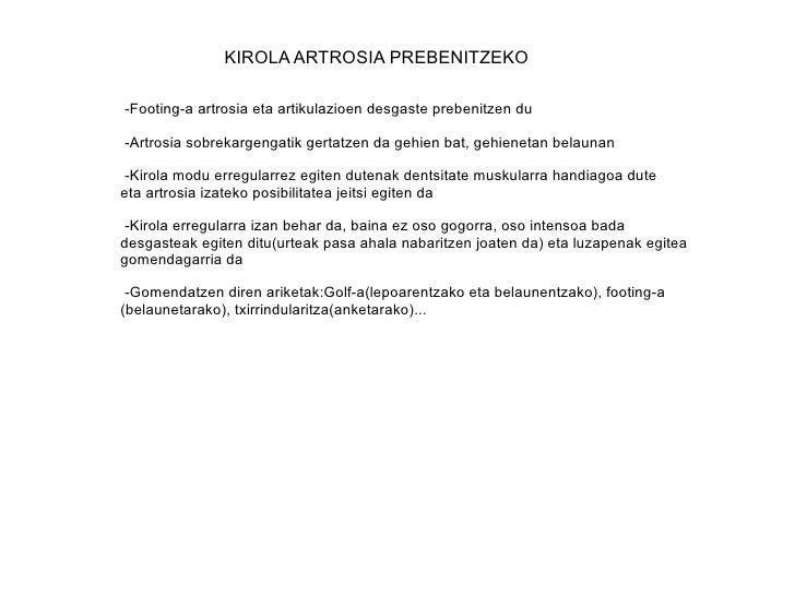 KIROLA ARTROSIA PREBENITZEKO -Footing-a artrosia eta artikulazioen desgaste prebenitzen du  -Artrosia sobrekargengatik ger...
