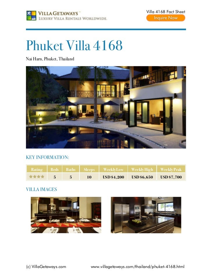 Villa 4168 Fact SheetPhuket Villa 4168Nai Harn, Phuket, ThailandKEY INFORMATION:  Rating     Beds    Baths   Sleeps   Week...