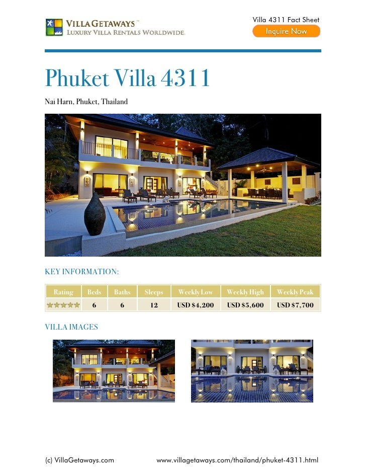 Villa 4311 Fact SheetPhuket Villa 4311Nai Harn, Phuket, ThailandKEY INFORMATION:  Rating     Beds    Baths   Sleeps   Week...