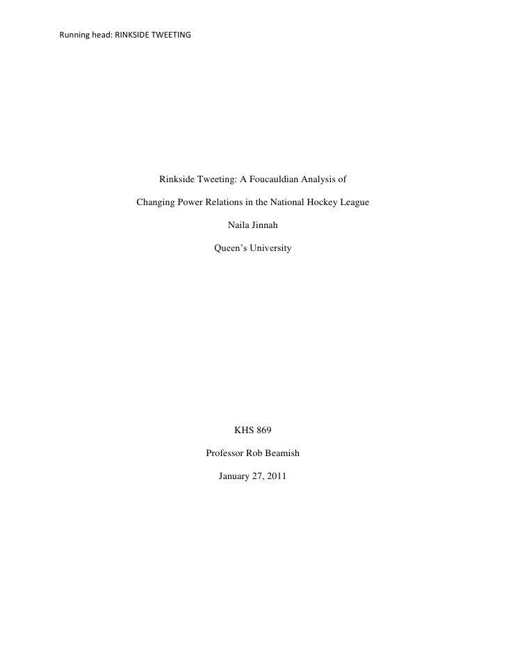 Running head: RINKSIDE TWEETING                       Rinkside Tweeting: A Foucauldian Analysis of                  Changi...