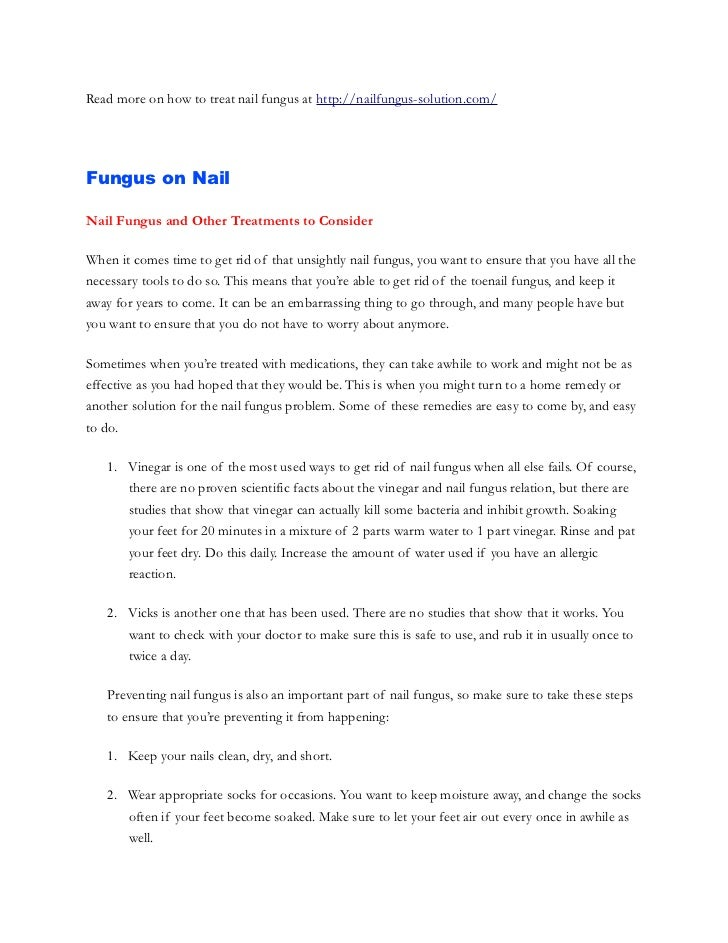 Read more on how to treat nail fungus at http://nailfungus-solution.com/Fungus on NailNail Fungus and Other Treatments to ...