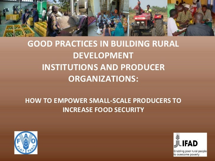 GOOD PRACTICES IN BUILDING RURAL DEVELOPMENT INSTITUTIONS AND PRODUCER ORGANIZATIONS: HOW TO EMPOWER SMALL-SCALE PRODUCERS...