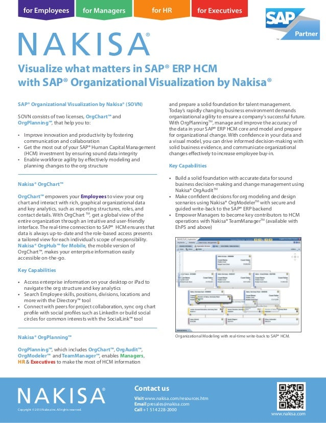 SAP® Organizational Visualization by Nakisa® (SOVN) SOVN consists of two licenses, OrgChart™ and OrgPlanning™, that help y...