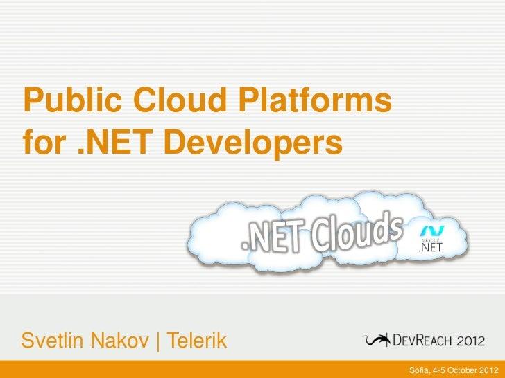 Public Cloud Platforms for .NET Developers