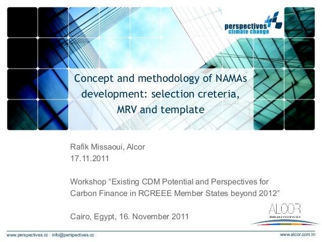 Concept and methodology of NAMAs                                 development: selection creteria,                         ...