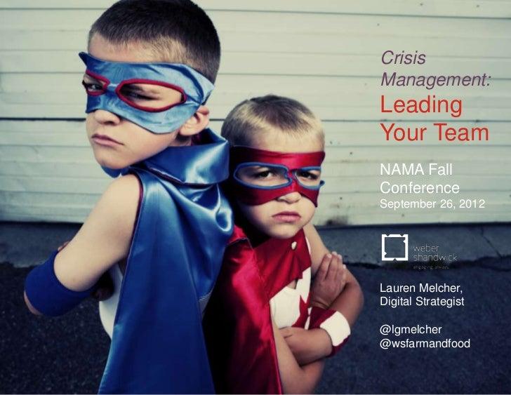 Crisis                                            Management:                                            Leading          ...