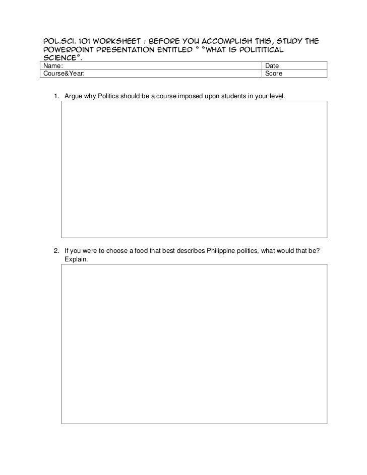 PolSci 101 Worksheet