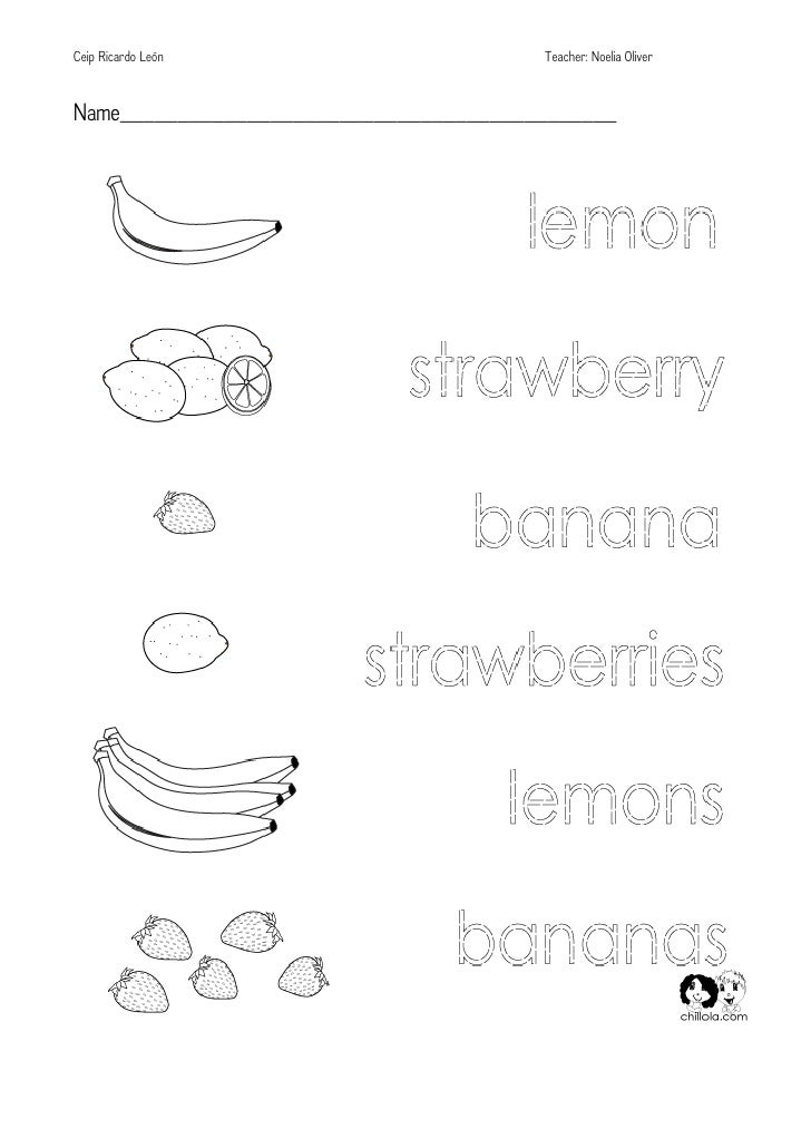 Color the fruits and vegetables Worksheet Twisty Noodle