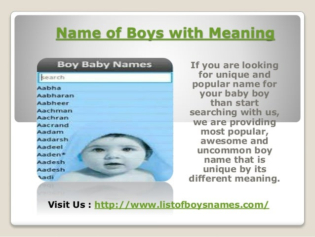 Uncommon Boy Names And Their Meanings Imageslidesharecdn
