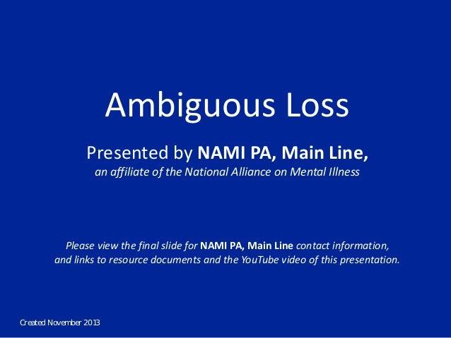NAMI Ambiguous Loss Talk Deck