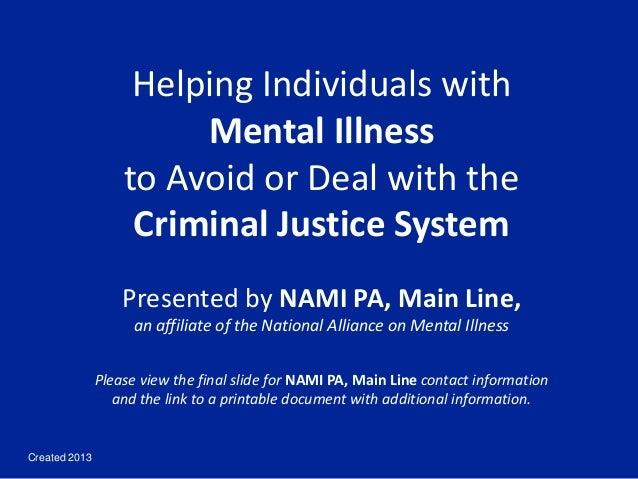NAMI PA Main Line Criminal Justice Information