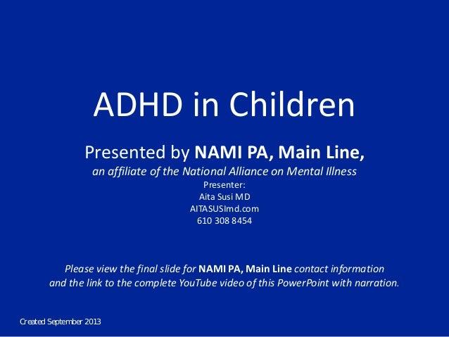 NAMI PA Main Line Forum - ADHD in Children