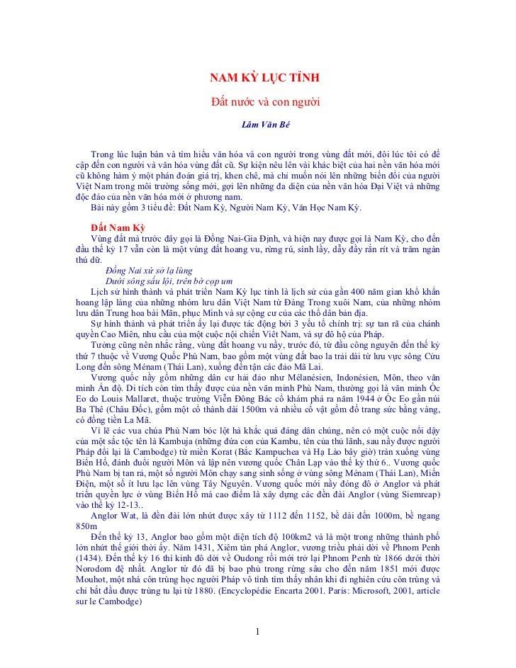 NAM KỲ LỤC TỈNH                                    Đất nước và con người                                            Lâm Vă...
