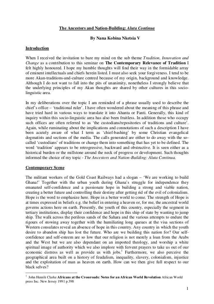 Nana Kobina Nketsia V on Ancestors and the Nation