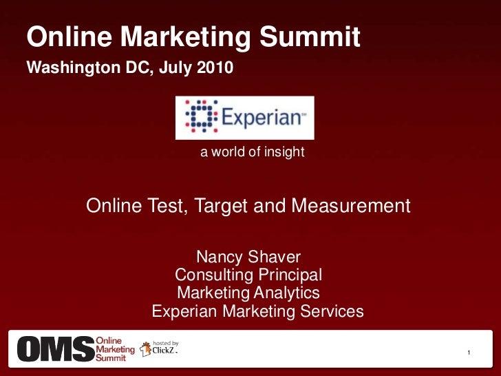 Online Test, Target and Measurement - Nancy Shaver, Experian Marketing Services