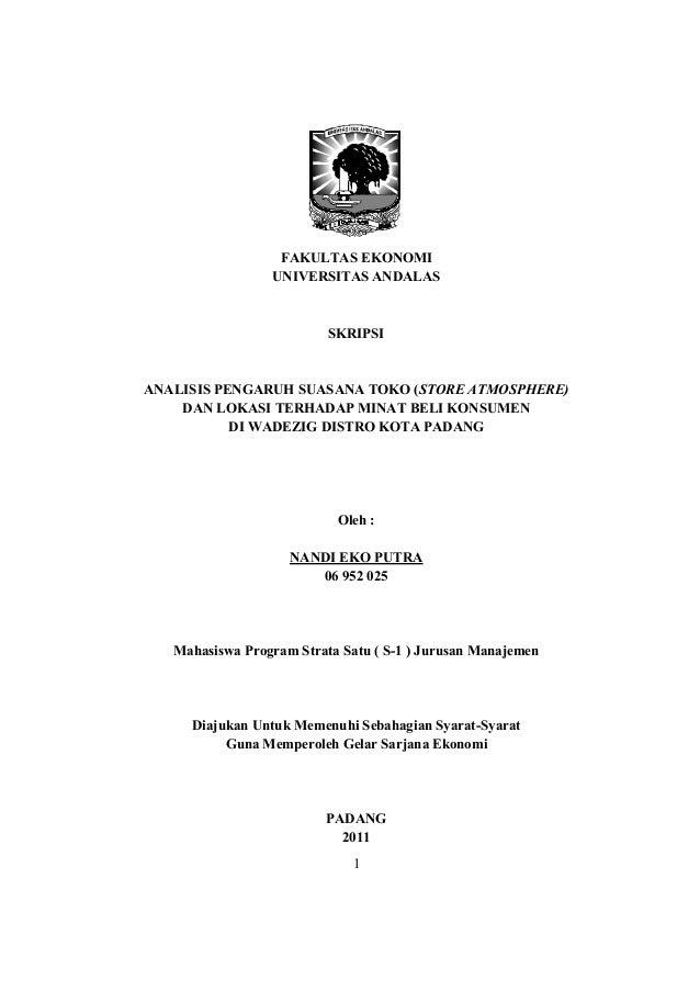 FAKULTAS EKONOMI                 UNIVERSITAS ANDALAS                          SKRIPSIANALISIS PENGARUH SUASANA TOKO (STORE...