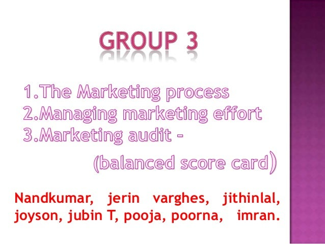 marketing process, efforts, audit