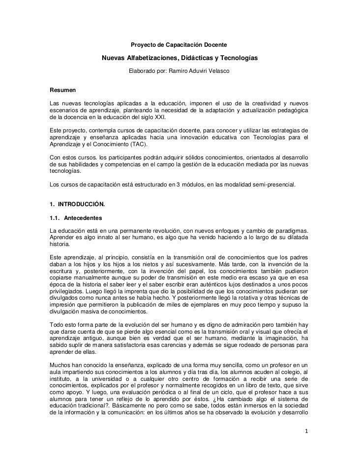 Proyecto de Capacitación Docente                    Nuevas Alfabetizaciones, Didácticas y Tecnologías                     ...
