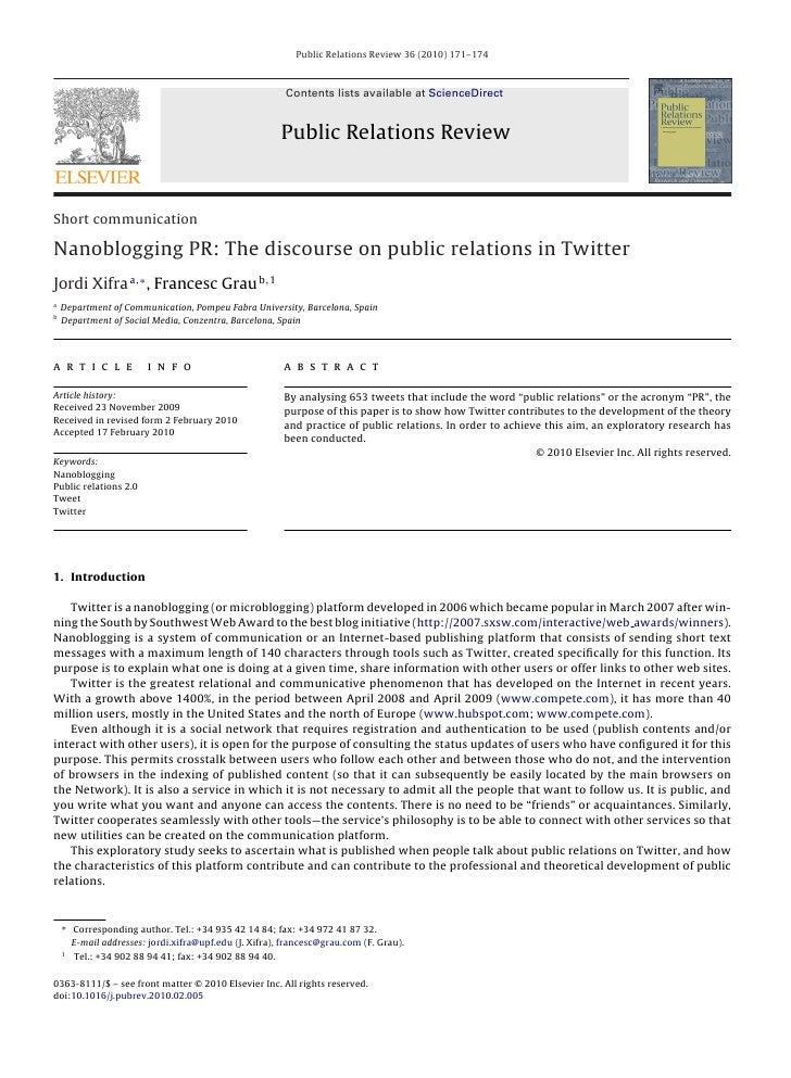 Public Relations Review 36 (2010) 171–174                                                            Contents lists availa...