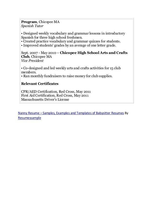 professional nanny resume sample