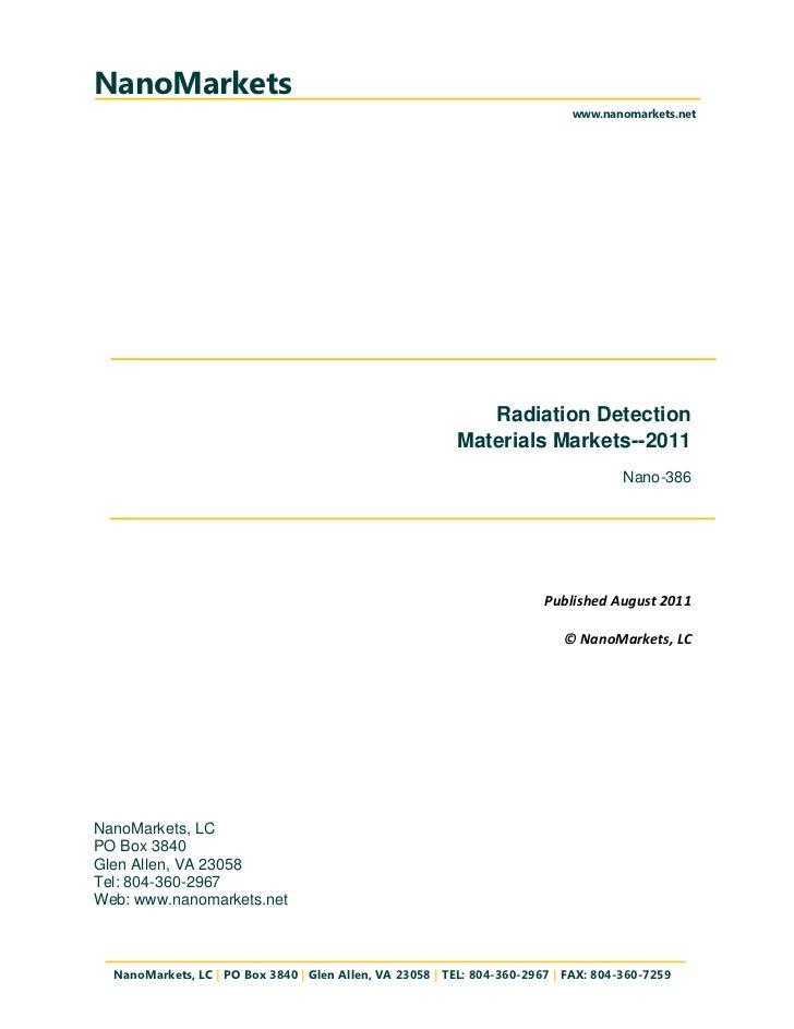 Executive Summary- Radiation Detection Materials Markets