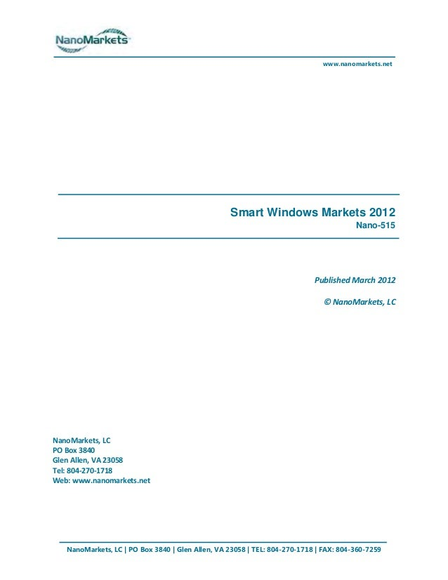 Smart Windows Markets, Exec Summary