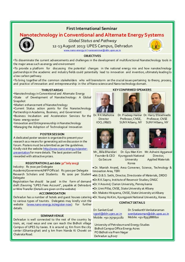 First International Seminar Nanotechnology in Conventional and Alternate Energy Systems GlobalStatus and Pathway 12-13 Aug...