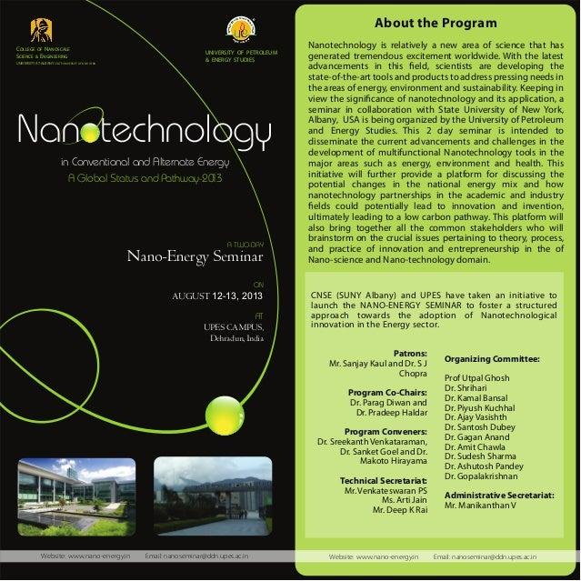 Nanotechnology in Conventional & Alternate Energy - Seminar Brochure