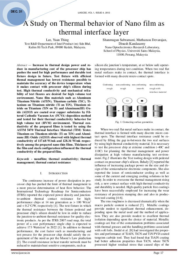DEC. 31                                              IJASCSE, VOL 1, ISSUE 4, 2012          A Study on Thermal behavior of...