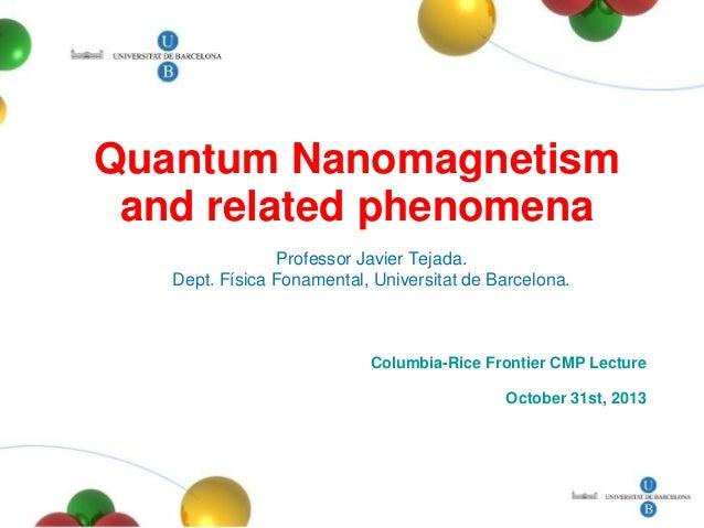 Nanomagnetism columbia 2013