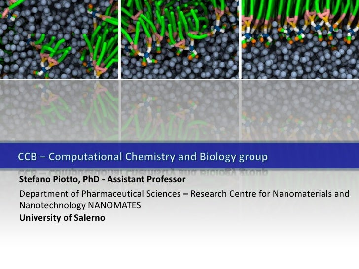 CCB – ComputationalChemistry and Biologygroup<br />Stefano Piotto, PhD - Assistant Professor<br />DepartmentofPharmaceutic...