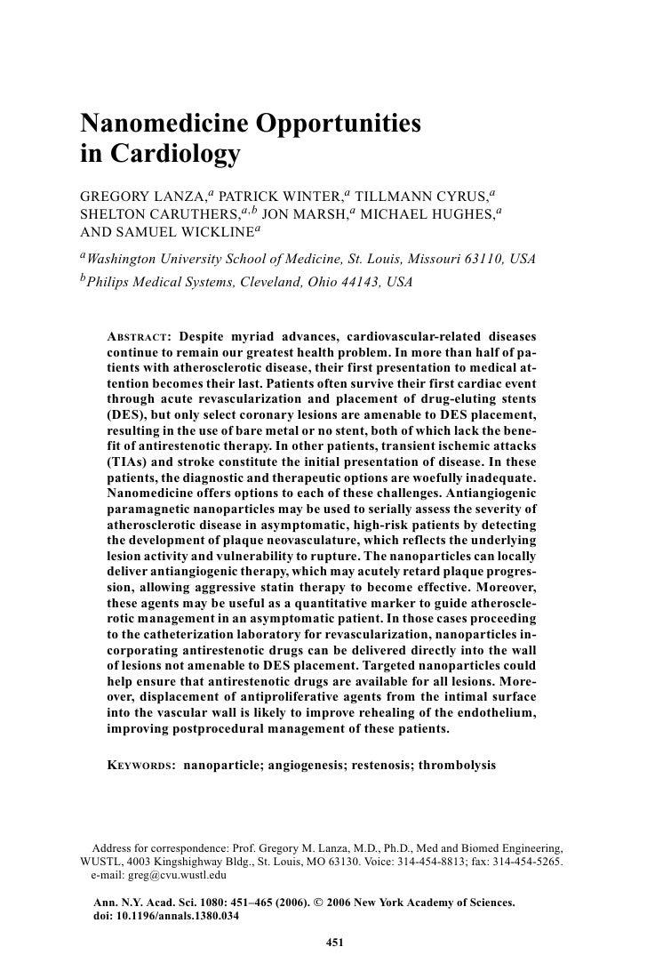 Nanomedicine Opportunities in Cardiology GREGORY LANZA,a PATRICK WINTER,a TILLMANN CYRUS,a SHELTON CARUTHERS,a,b JON MARSH...