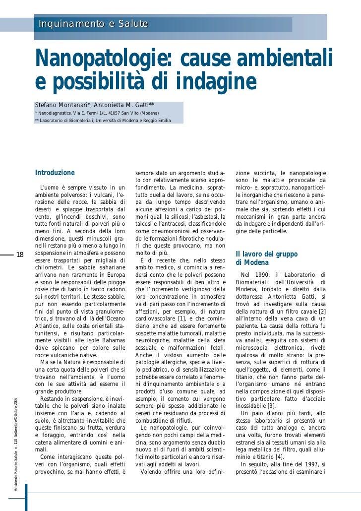 Inquinamento e Salute                                                            Nanopatologie: cause ambientali          ...