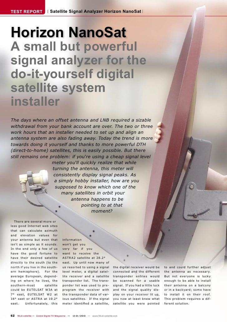TEST REPORT                   Satellite Signal Analyzer Horizon NanoSat     Horizon NanoSat A small but powerful signal an...