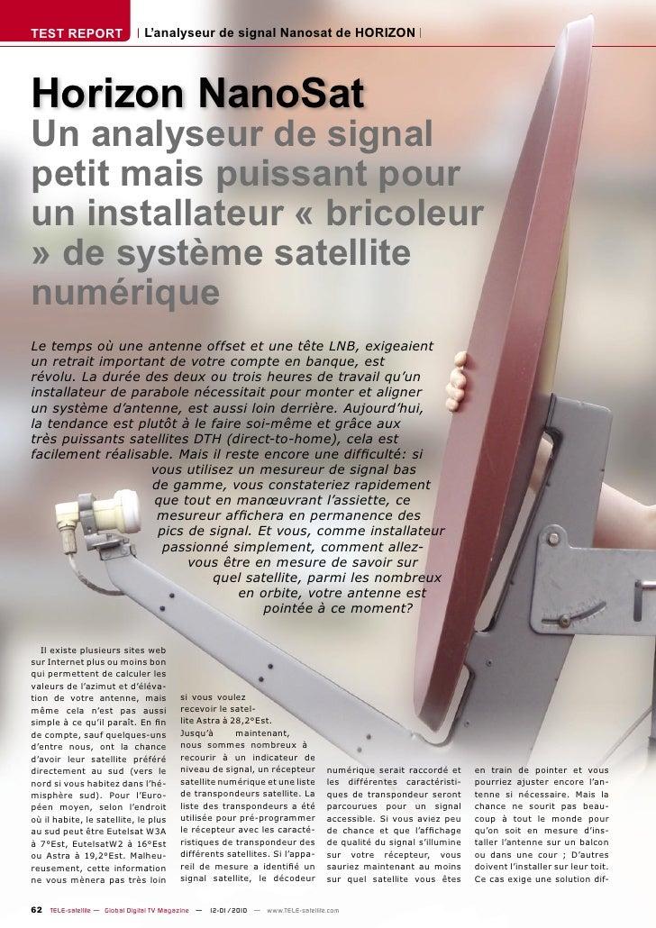 TEST REPORT                   L'analyseur de signal Nanosat de HORIZON     Horizon NanoSat Un analyseur de signal petit ma...