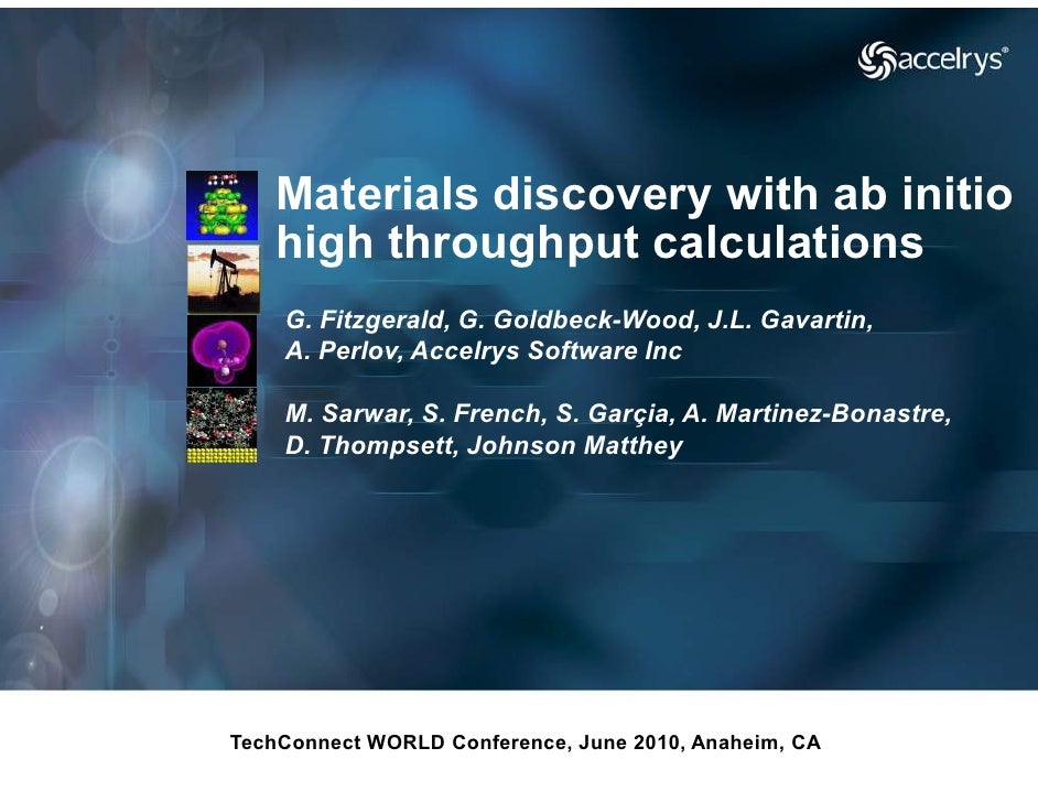Materials discovery with ab initio   high throughput calculations    G. Fitzgerald, G. Goldbeck                      Goldb...
