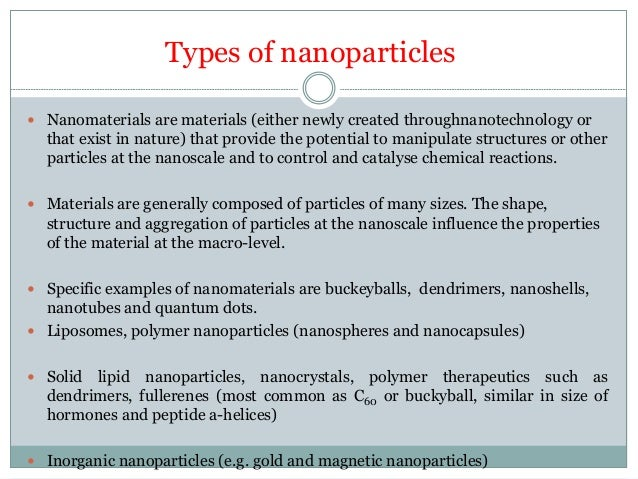 Classification of nanoparticles