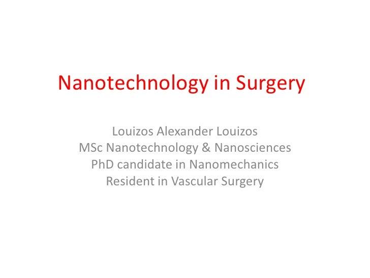 Nanotechnology in surgery