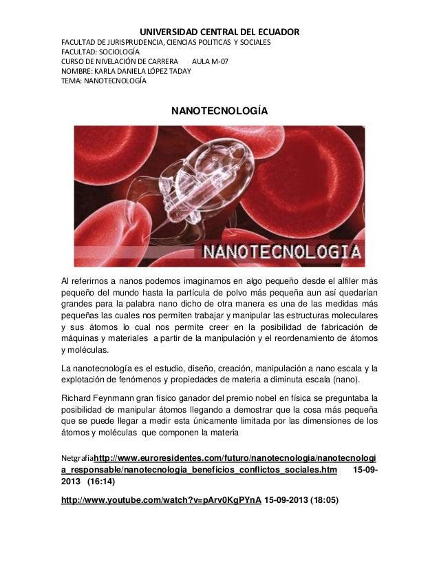 UNIVERSIDAD CENTRAL DEL ECUADOR FACULTAD DE JURISPRUDENCIA, CIENCIAS POLITICAS Y SOCIALES FACULTAD: SOCIOLOGÍA CURSO DE NI...