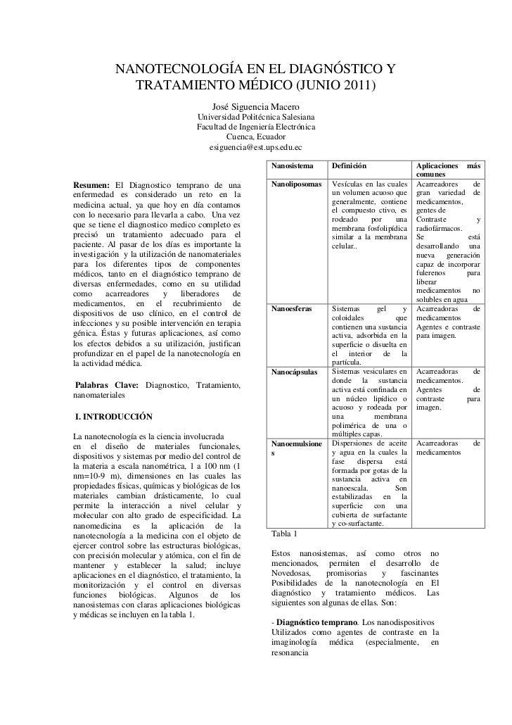 NANOTECNOLOGÍA EN EL DIAGNÓSTICO Y              TRATAMIENTO MÉDICO (JUNIO 2011)                                         Jo...