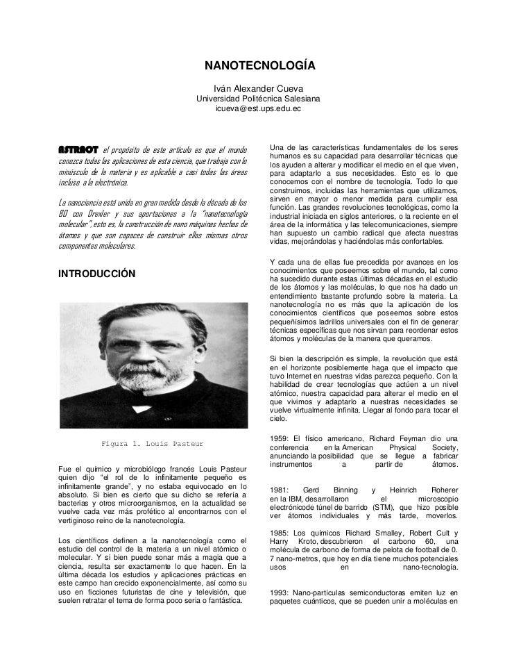NANOTECNOLOGÍA                                                      Iván Alexander Cueva                                  ...