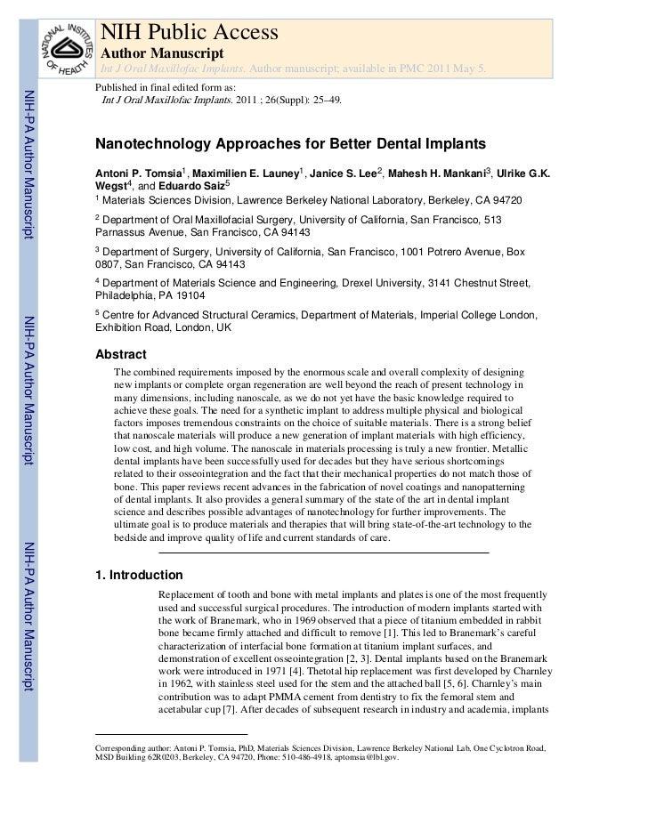 Nanotecnologie per il miglioramento degli impianti dentali