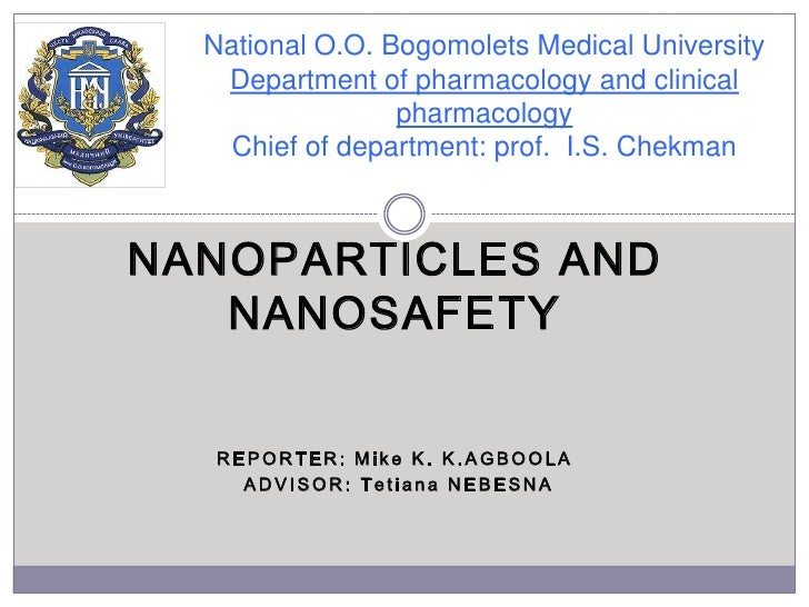 National O.O. Bogomolets Medical UniversityDepartment of pharmacology and clinical pharmacologyChief of department: prof. ...