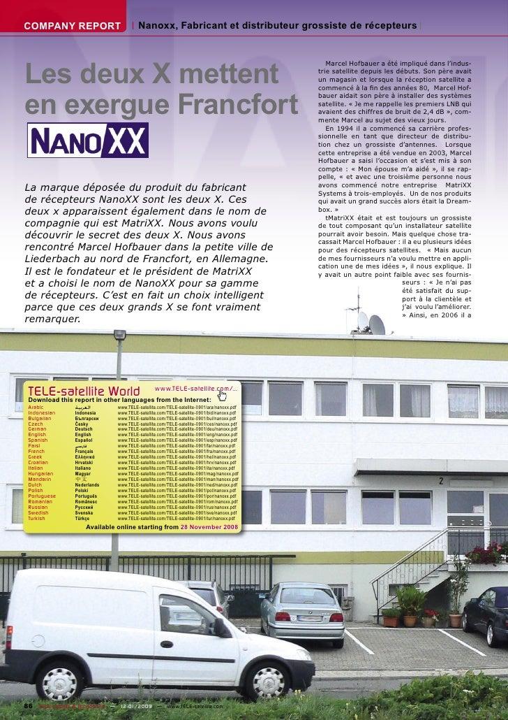 COMPANY REPORT                          Nanoxx, Fabricant et distributeur grossiste de récepteurs     Les deux X mettent  ...
