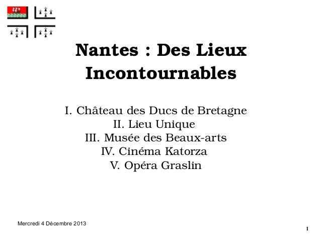 Nantes:DesLieux Incontournables I.ChâteaudesDucsdeBretagne II.LieuUnique III.MuséedesBeauxarts IV.Cinéma...