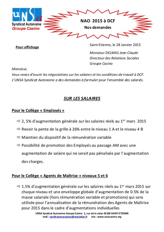 UNSA Syndicat Autonome Groupe Casino 1, rue de la valse 42100 SAINT-ETIENNE mail : syndicatunsacasino@wanadoo.fr site : ww...