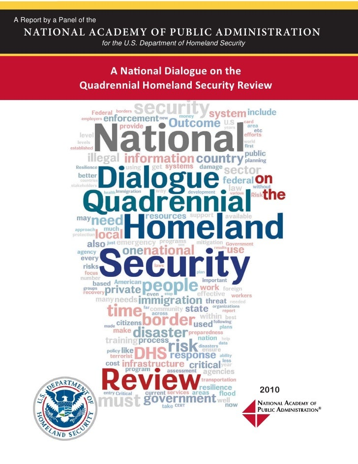 A National Dialogue On The Quadrennial Homeland Security Review: Final Report