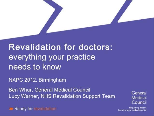 Revalidation for Doctors: NAPC 2012 Birmingham